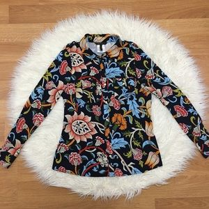 BCBGMaxazria Woodblock Navy Blue Floral Top Large